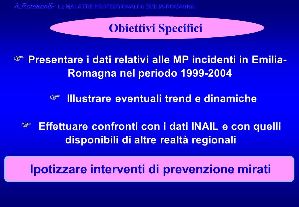 Obiettivi Specifici F Presentare i dati relativi alle MP incidenti in Emilia- Romagna nel periodo 1999-2004 F Illustrare eventuali trend e dinamiche F