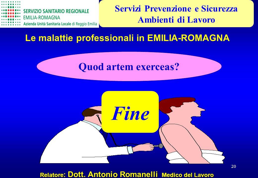 20 Relatore : Dott. Antonio Romanelli Medico del Lavoro Le malattie professionali in EMILIA-ROMAGNA Servizi Prevenzione e Sicurezza Ambienti di Lavoro