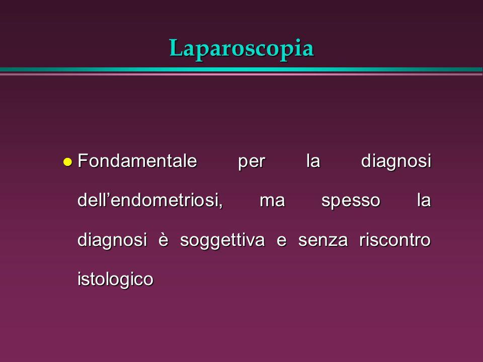 Laparoscopia l Fondamentale per la diagnosi dellendometriosi, ma spesso la diagnosi è soggettiva e senza riscontro istologico