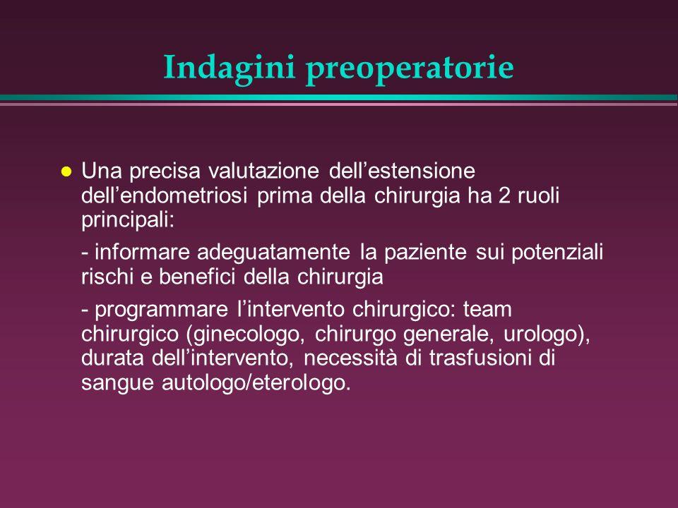 l Una precisa valutazione dellestensione dellendometriosi prima della chirurgia ha 2 ruoli principali: - informare adeguatamente la paziente sui poten