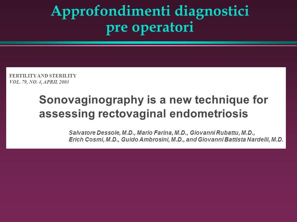Approfondimenti diagnostici pre operatori FERTILITY AND STERILITY VOL. 79, NO. 4, APRIL 2003 Sonovaginography is a new technique for assessing rectova