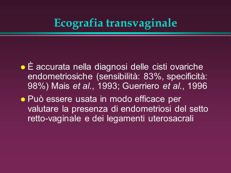 Ecografia transvaginale l È accurata nella diagnosi delle cisti ovariche endometriosiche (sensibilità: 83%, specificità: 98%) Mais et al., 1993; Guerr
