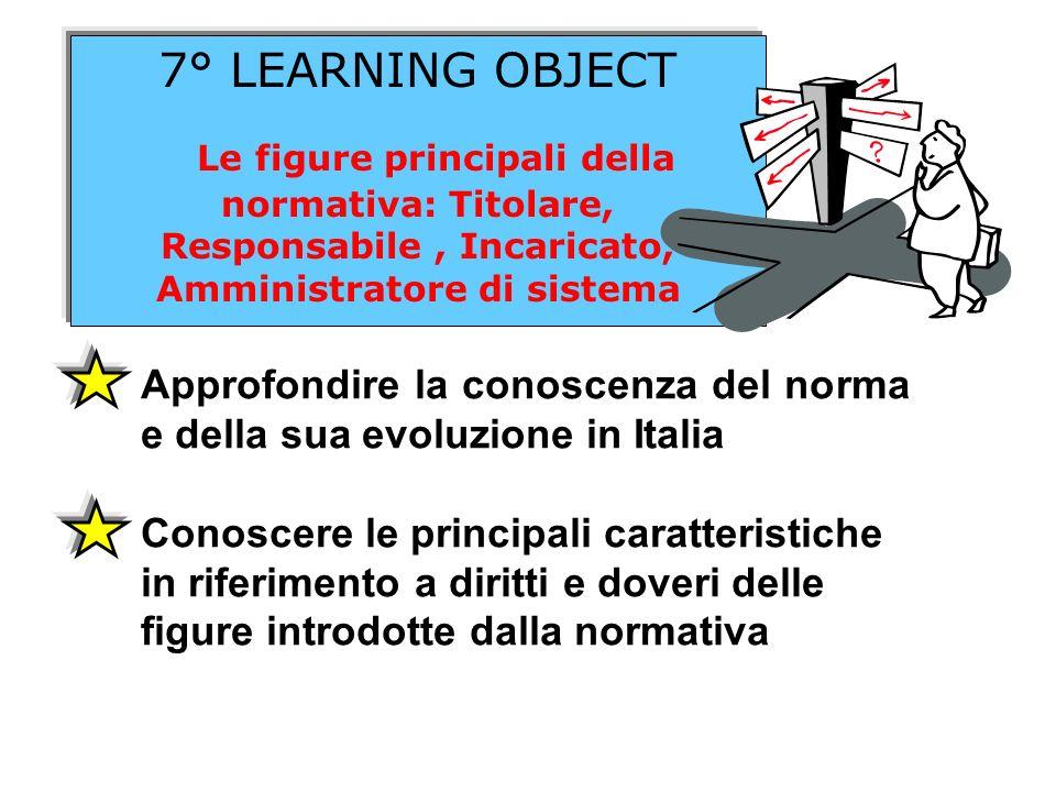 7° LEARNING OBJECT Le figure principali della normativa: Titolare, Responsabile, Incaricato, Amministratore di sistema Approfondire la conoscenza del