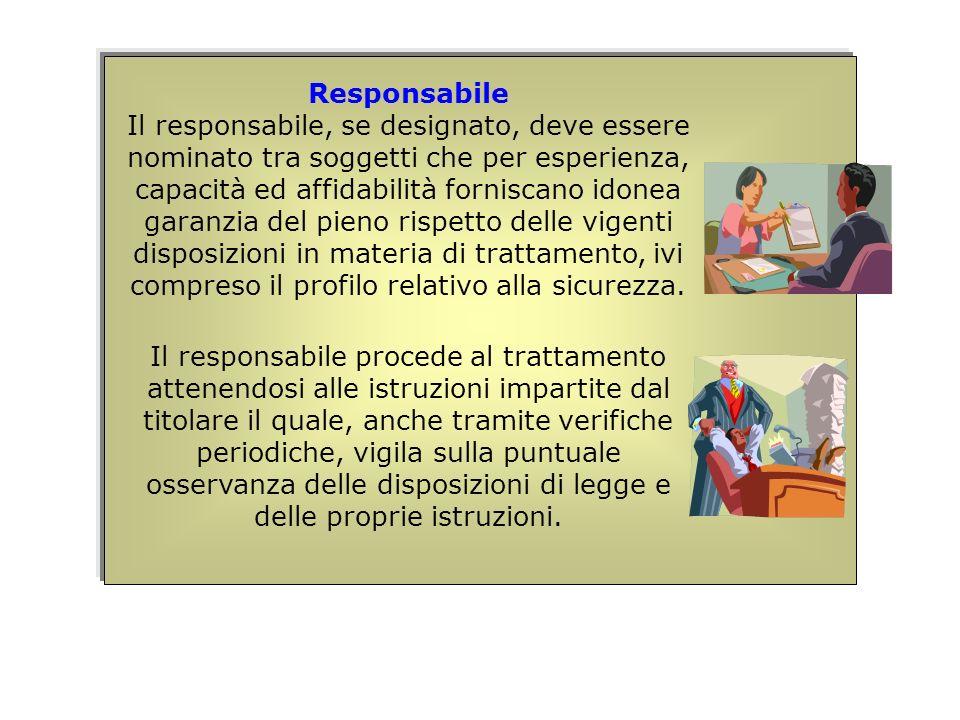 Responsabile Il responsabile, se designato, deve essere nominato tra soggetti che per esperienza, capacità ed affidabilità forniscano idonea garanzia