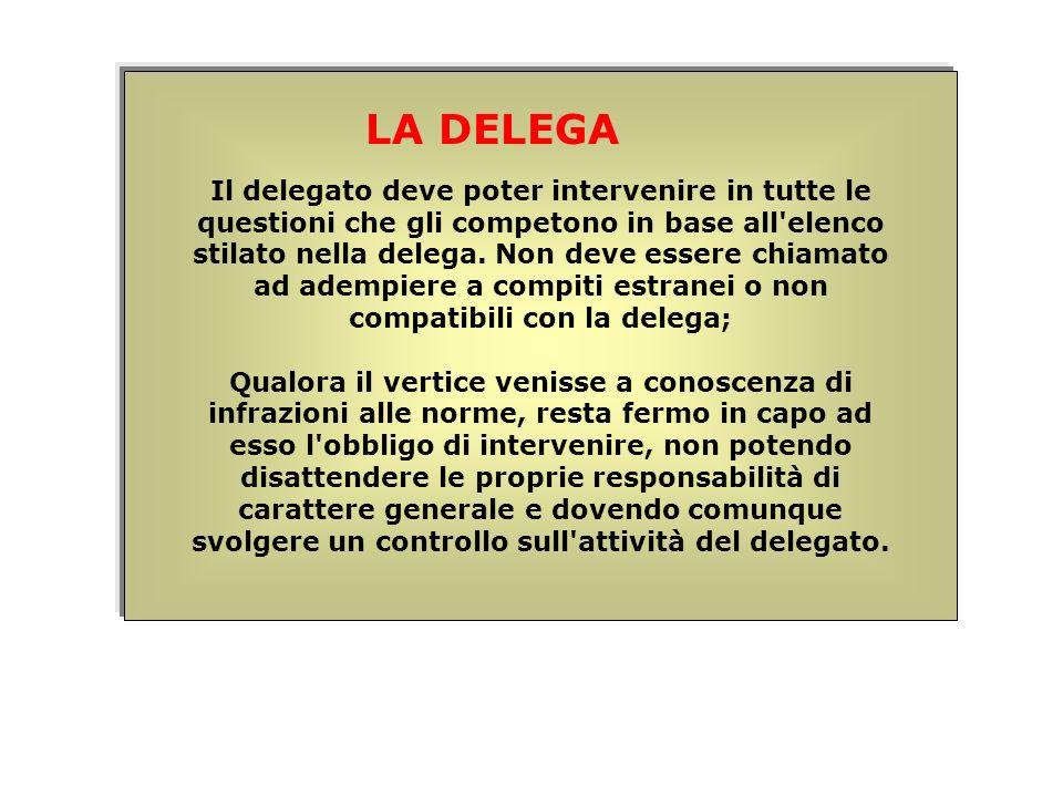 Il delegato deve poter intervenire in tutte le questioni che gli competono in base all'elenco stilato nella delega. Non deve essere chiamato ad adempi