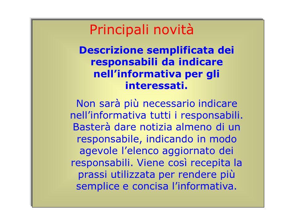 Descrizione semplificata dei responsabili da indicare nellinformativa per gli interessati.