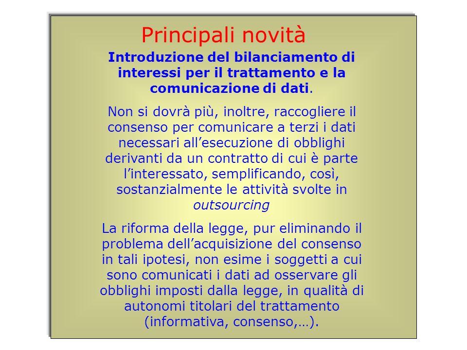 Introduzione del bilanciamento di interessi per il trattamento e la comunicazione di dati.