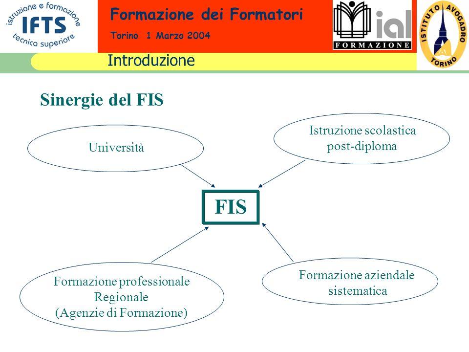 Formazione dei Formatori Torino 1 Marzo 2004 FIS Sinergie del FIS Formazione aziendale sistematica Istruzione scolastica post-diploma Formazione profe