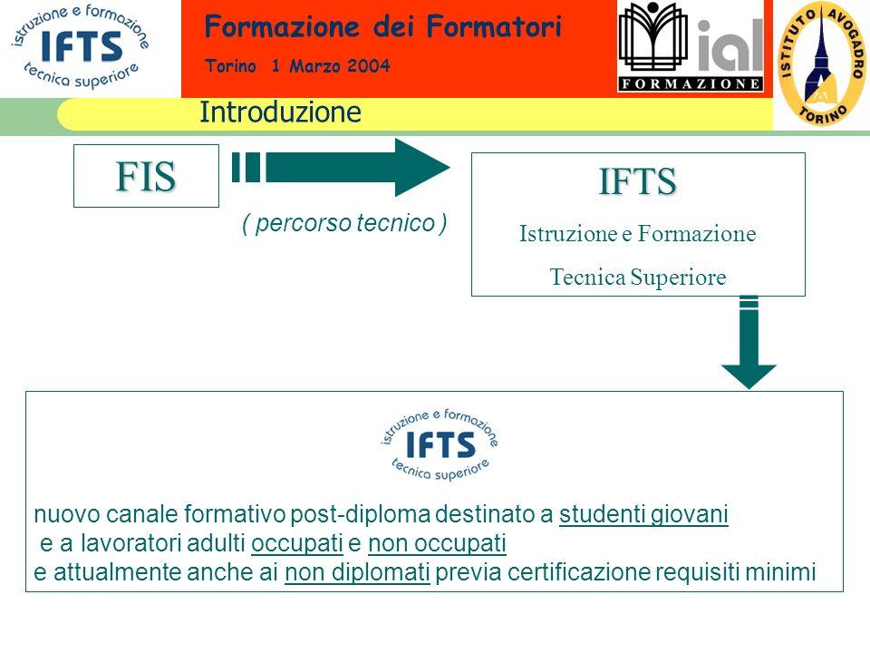 Formazione dei Formatori Torino 1 Marzo 2004 Introduzione FIS IFTS Istruzione e Formazione Tecnica Superiore ( percorso tecnico ) nuovo canale formati
