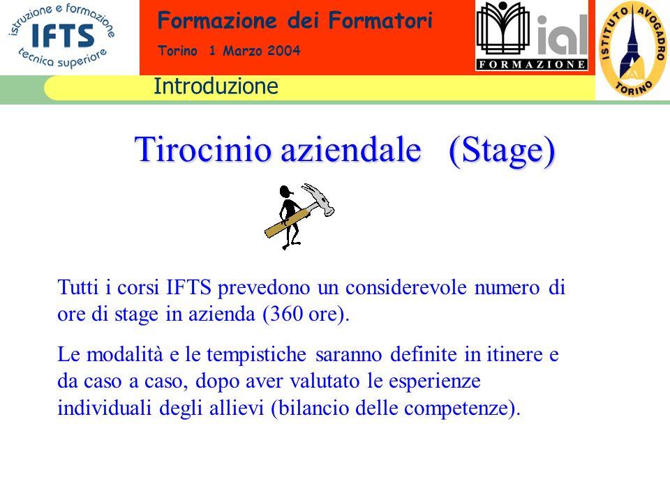 Formazione dei Formatori Torino 1 Marzo 2004 Tirocinio aziendale (Stage) Tutti i corsi IFTS prevedono un considerevole numero di ore di stage in azien