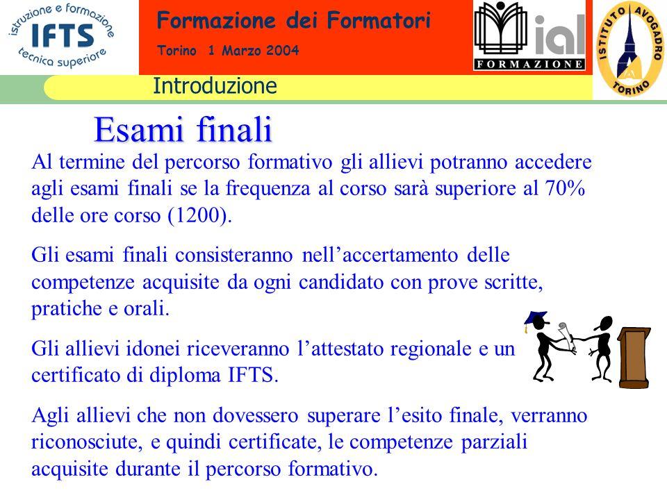 Formazione dei Formatori Torino 1 Marzo 2004 Esami finali Al termine del percorso formativo gli allievi potranno accedere agli esami finali se la freq