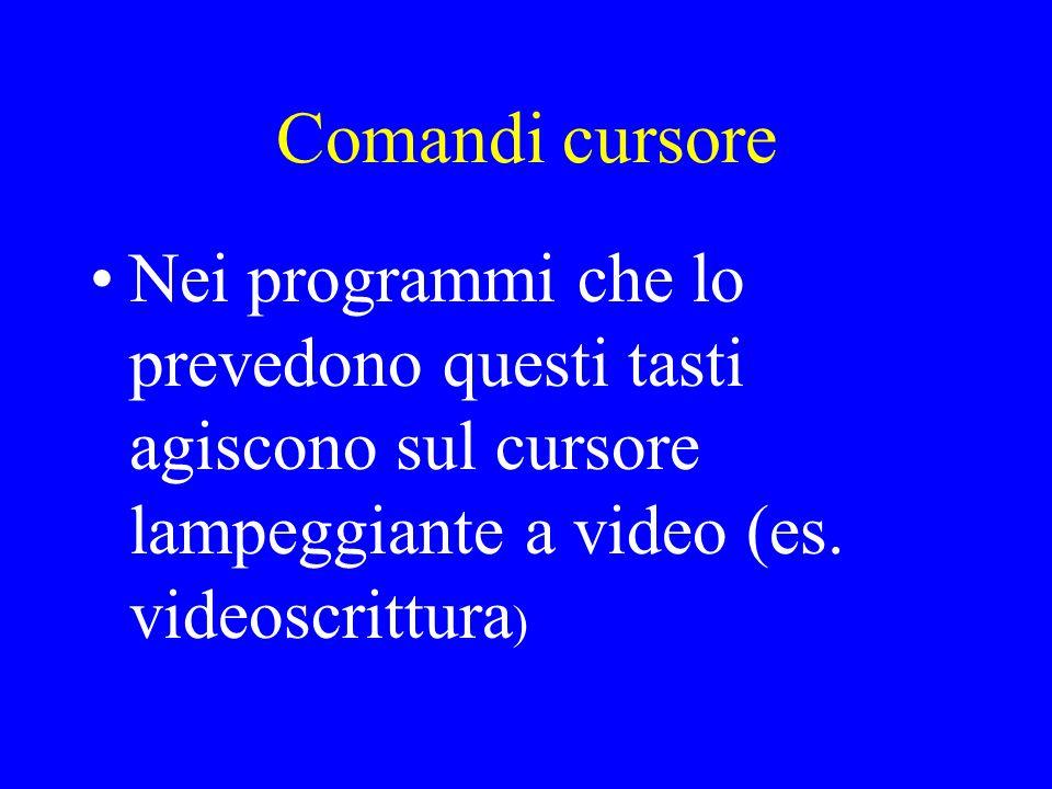 Comandi cursore Nei programmi che lo prevedono questi tasti agiscono sul cursore lampeggiante a video (es.