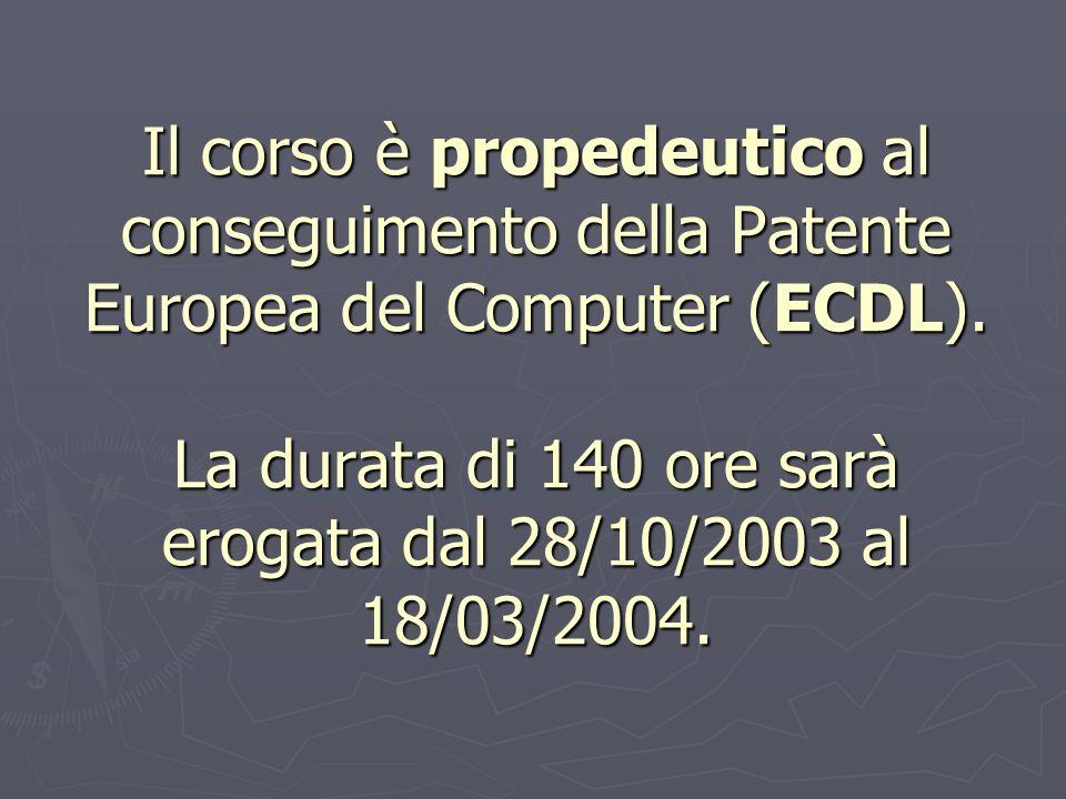 Il corso è propedeutico al conseguimento della Patente Europea del Computer (ECDL). La durata di 140 ore sarà erogata dal 28/10/2003 al 18/03/2004.