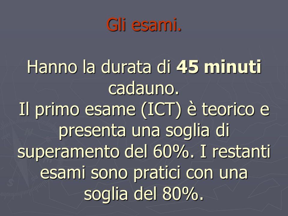 Gli esami. Hanno la durata di 45 minuti cadauno. Il primo esame (ICT) è teorico e presenta una soglia di superamento del 60%. I restanti esami sono pr
