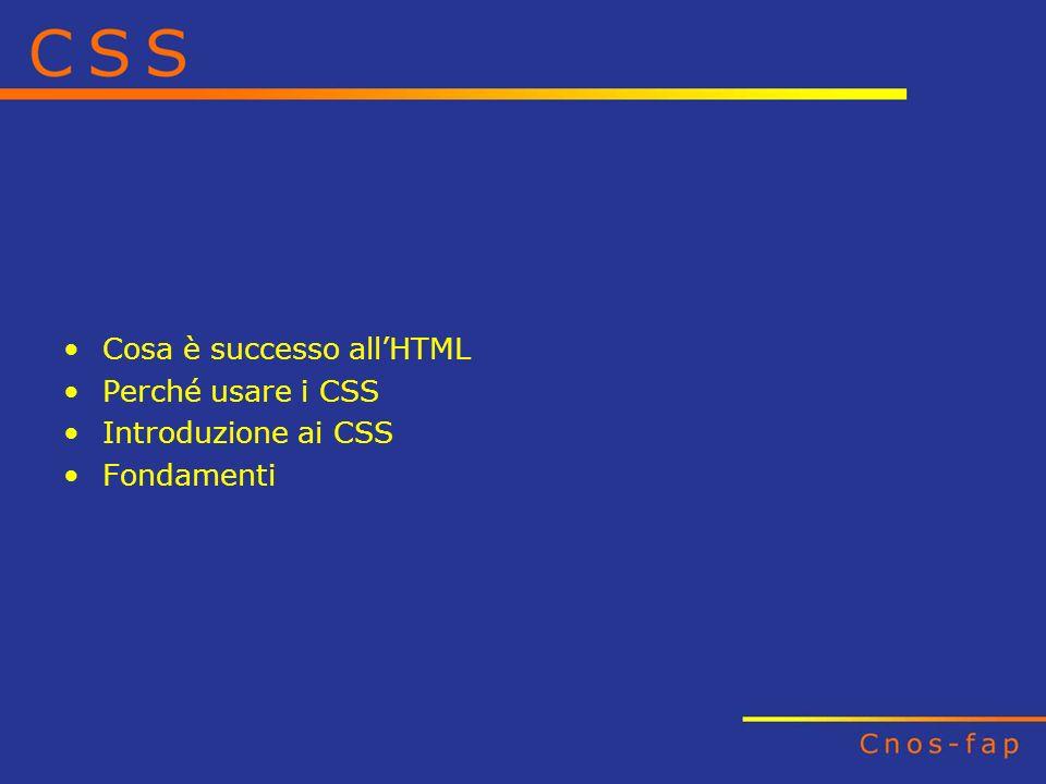 Cosa è successo allHTML Perché usare i CSS Introduzione ai CSS Fondamenti