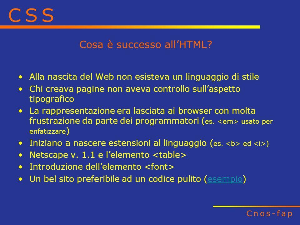 Cosa è successo allHTML? Alla nascita del Web non esisteva un linguaggio di stile Chi creava pagine non aveva controllo sullaspetto tipografico La rap
