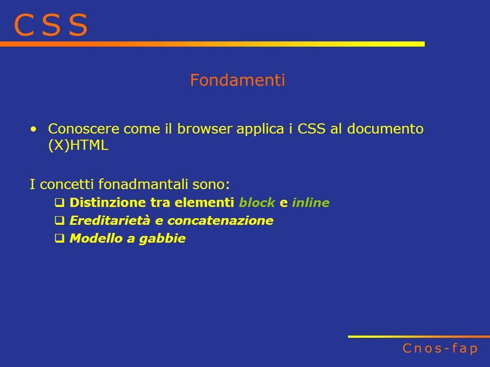 Fondamenti Conoscere come il browser applica i CSS al documento (X)HTML I concetti fonadmantali sono: Distinzione tra elementi block e inline Ereditar