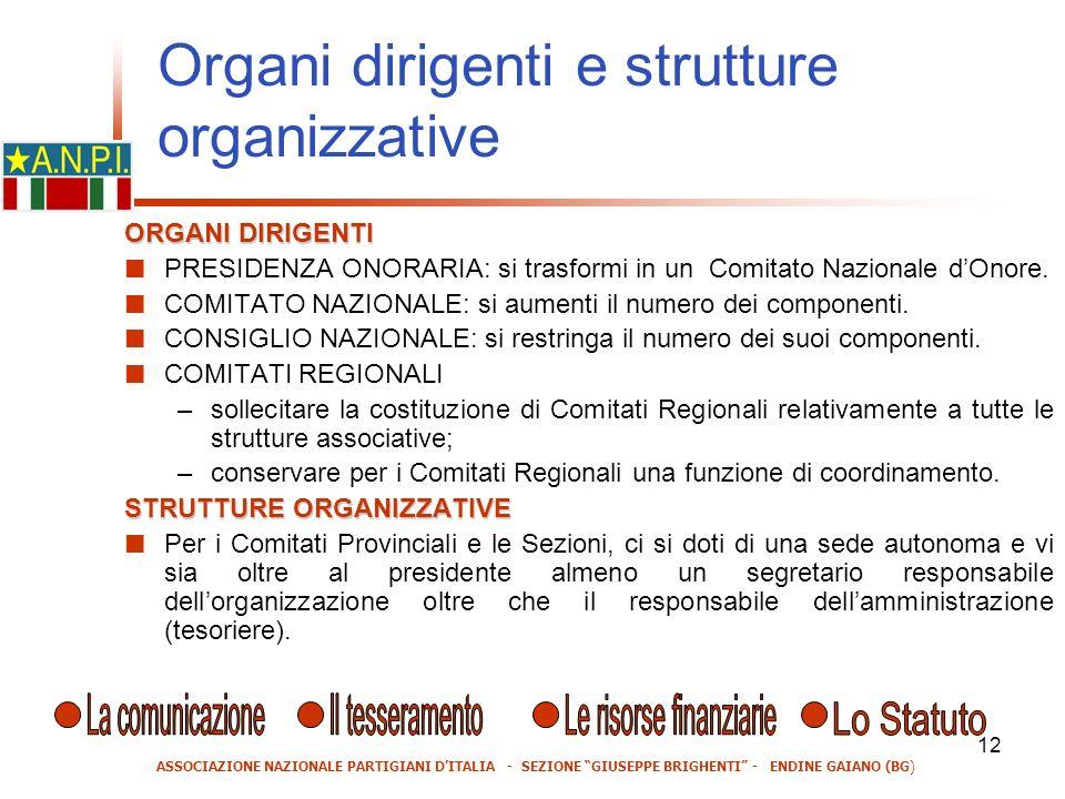 12 ORGANI DIRIGENTI PRESIDENZA ONORARIA: si trasformi in un Comitato Nazionale dOnore.
