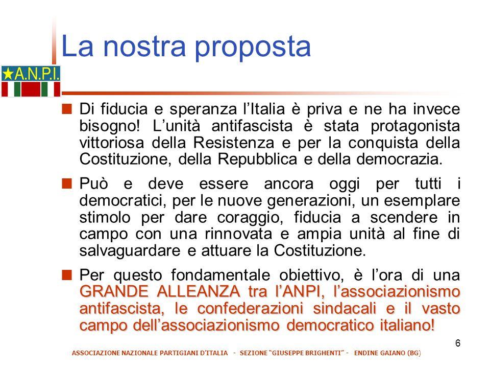 6 La nostra proposta Di fiducia e speranza lItalia è priva e ne ha invece bisogno.