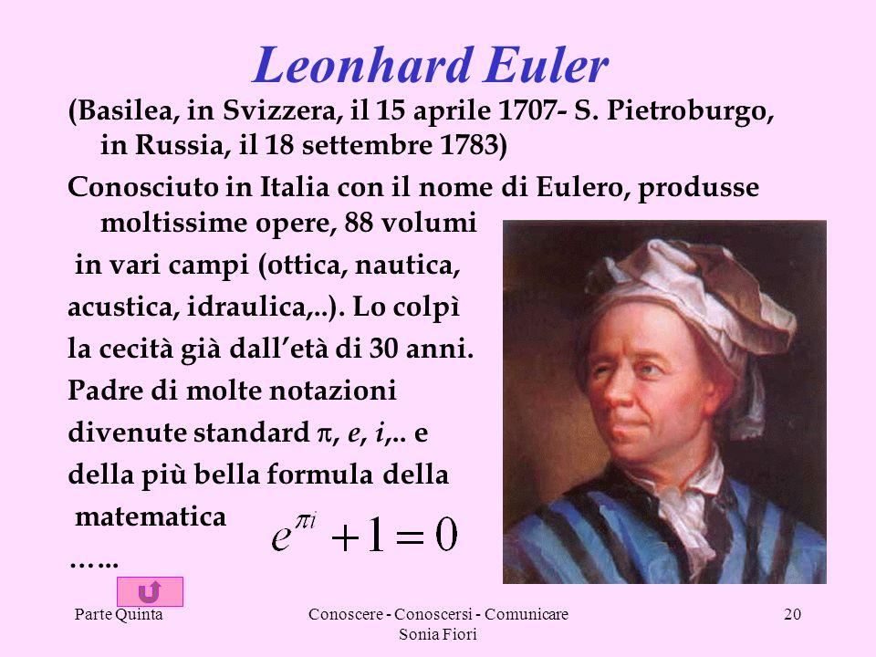 Parte QuintaConoscere - Conoscersi - Comunicare Sonia Fiori 20 (Basilea, in Svizzera, il 15 aprile 1707- S. Pietroburgo, in Russia, il 18 settembre 17