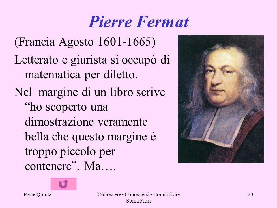 Parte QuintaConoscere - Conoscersi - Comunicare Sonia Fiori 23 Pierre Fermat (Francia Agosto 1601-1665) Letterato e giurista si occupò di matematica per diletto.
