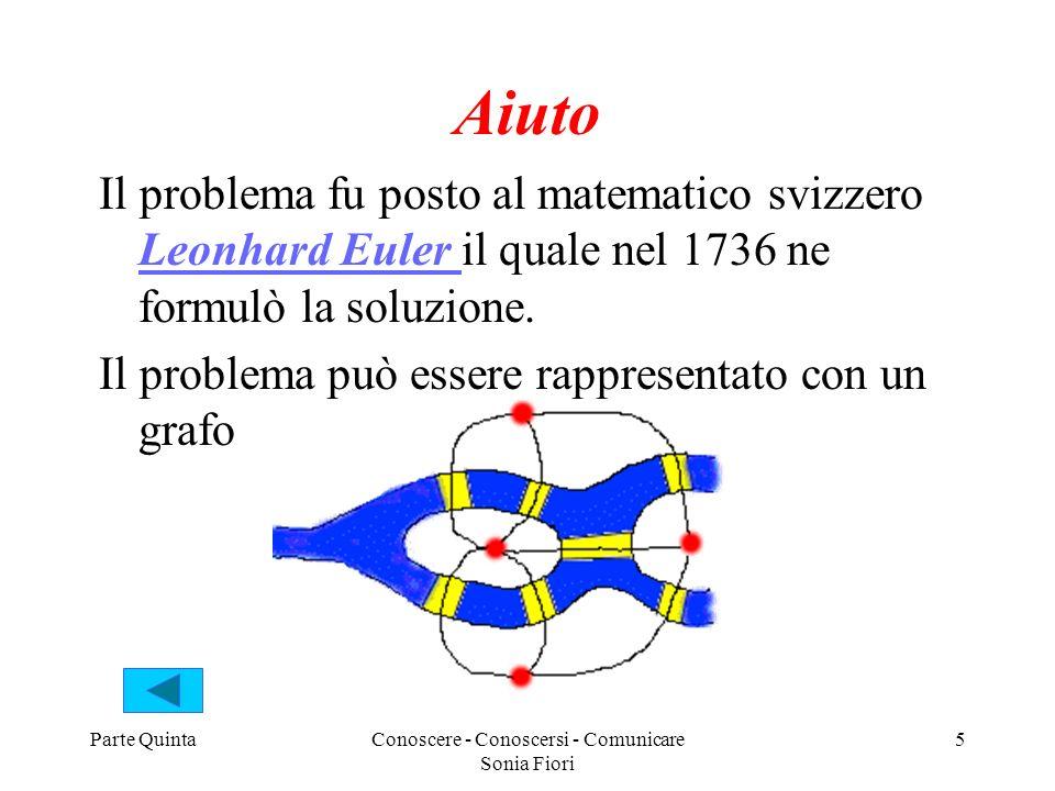 Parte QuintaConoscere - Conoscersi - Comunicare Sonia Fiori 5 Aiuto Il problema fu posto al matematico svizzero Leonhard Euler il quale nel 1736 ne formulò la soluzione.
