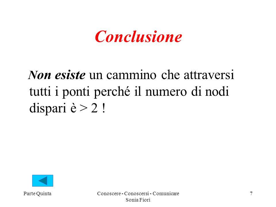 Parte QuintaConoscere - Conoscersi - Comunicare Sonia Fiori 7 Conclusione N on esiste un cammino che attraversi tutti i ponti perché il numero di nodi dispari è > 2 !