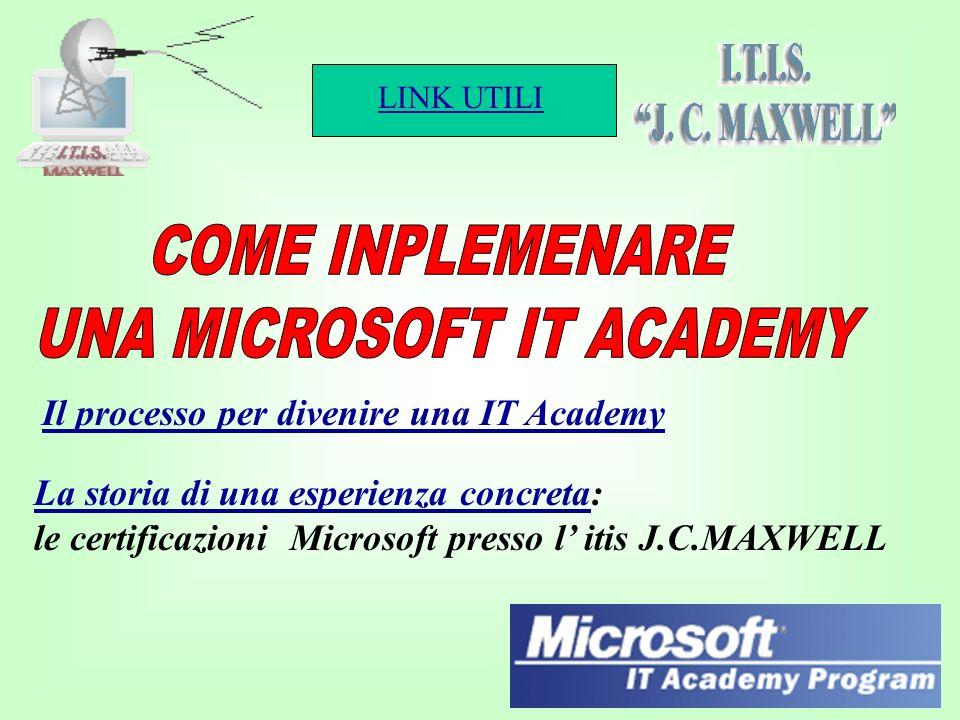 LINK UTILI 1 Il processo per divenire una IT Academy La storia di una esperienza concretaLa storia di una esperienza concreta: le certificazioni Microsoft presso l itis J.C.MAXWELL