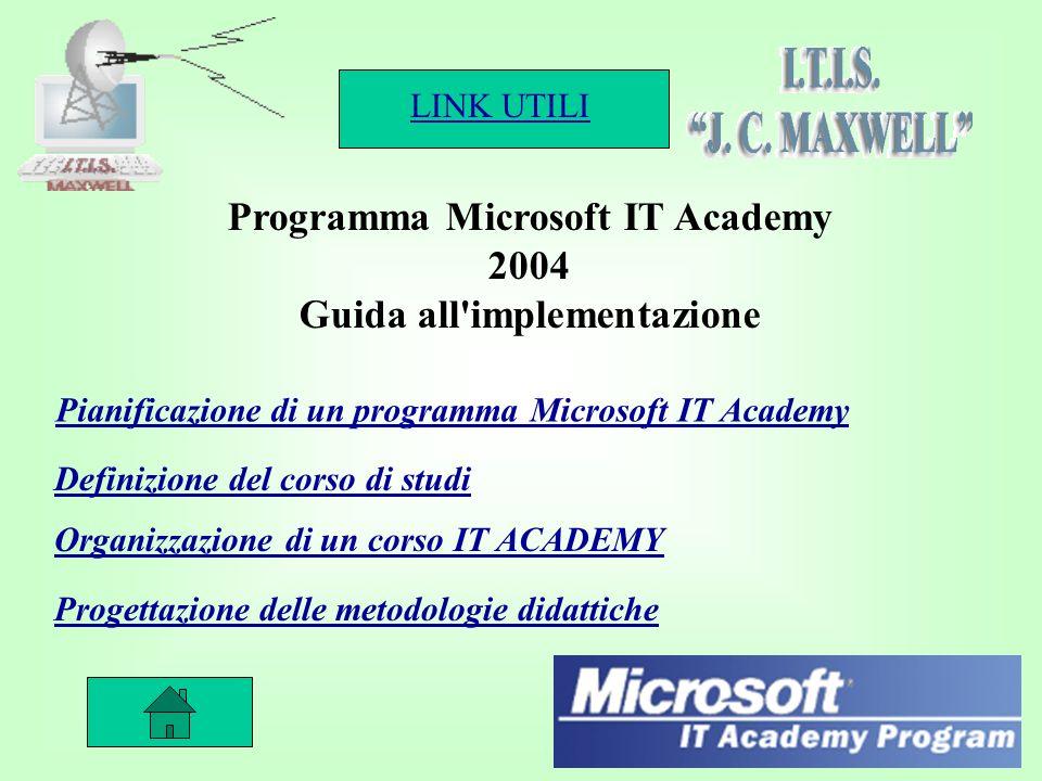 LINK UTILI 2 Programma Microsoft IT Academy 2004 Guida all implementazione Pianificazione di un programma Microsoft IT Academy Definizione del corso di studi Organizzazione di un corso IT ACADEMY Progettazione delle metodologie didattiche