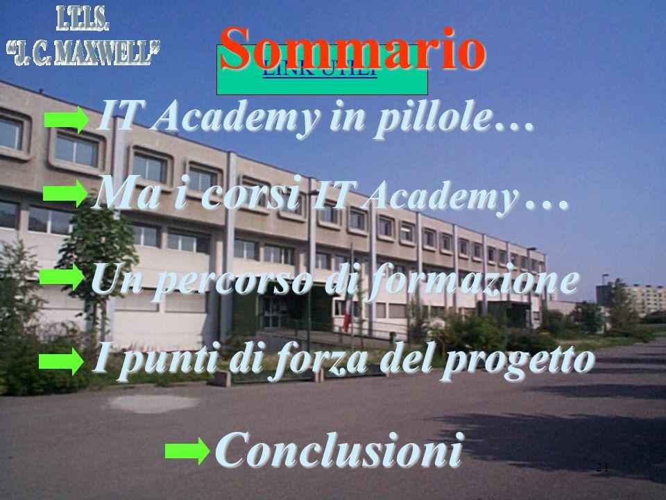 LINK UTILI 21 Sommario IT Academy in pillole… Un percorso di formazione Ma i corsi IT Academy … Conclusioni I punti di forza del progetto