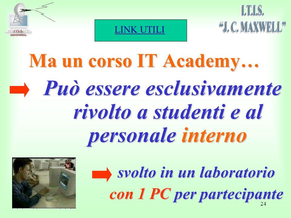 LINK UTILI 24 Ma un corso IT Academy… Può essere esclusivamente rivolto a studenti e al personale interno svolto in un laboratorio con 1 PC per partecipante