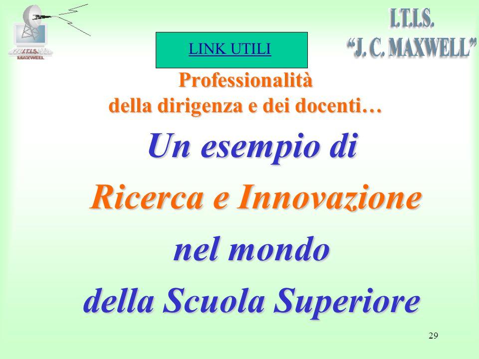 LINK UTILI 29 Un esempio di Ricerca e Innovazione Ricerca e Innovazione nel mondo della Scuola Superiore Professionalità della dirigenza e dei docenti…