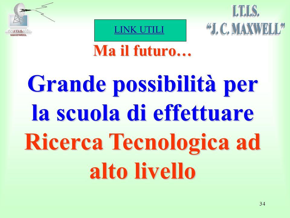 LINK UTILI 34 Ma il futuro… Grande possibilità per la scuola di effettuare Ricerca Tecnologica ad alto livello
