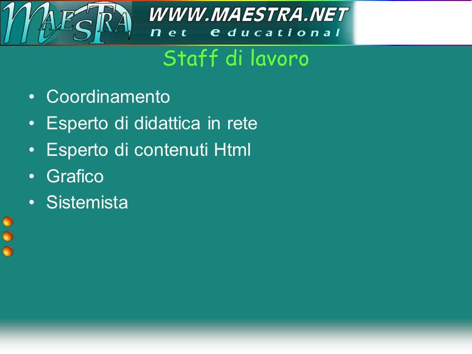 Formazione docenti Generalità FAD Standardizzazione –Metadata –Compilazione manifest Modelli cognitivi –Pio Scilligo –3de Project Maestra Calendarizzazione