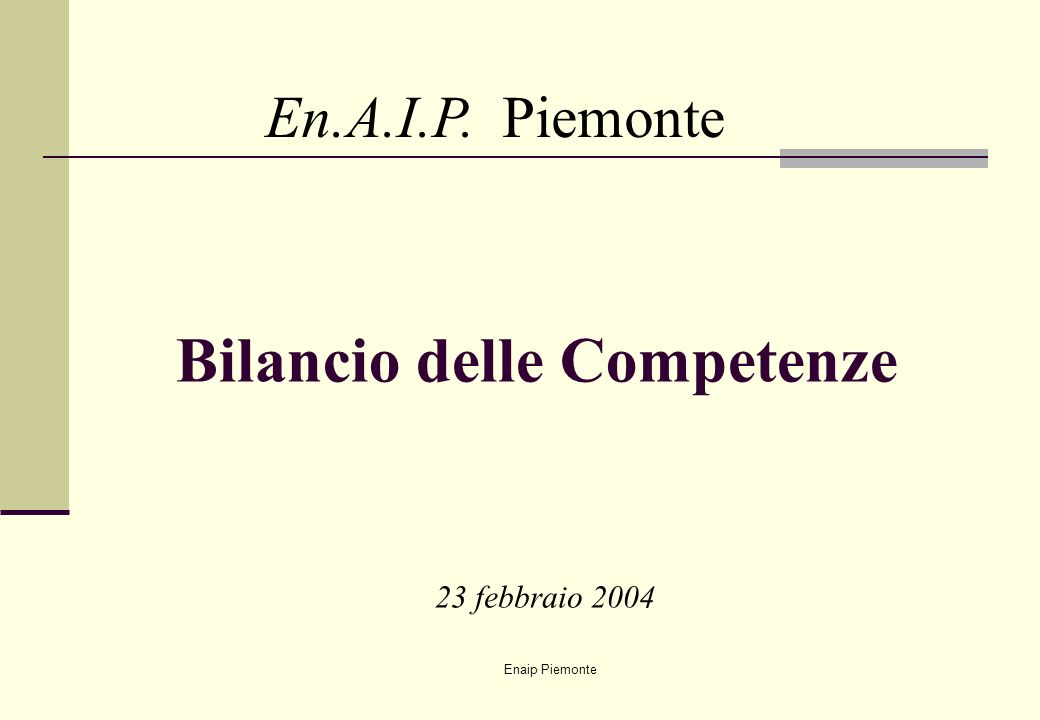 Enaip Piemonte Bilancio delle Competenze En.A.I.P. Piemonte 23 febbraio 2004