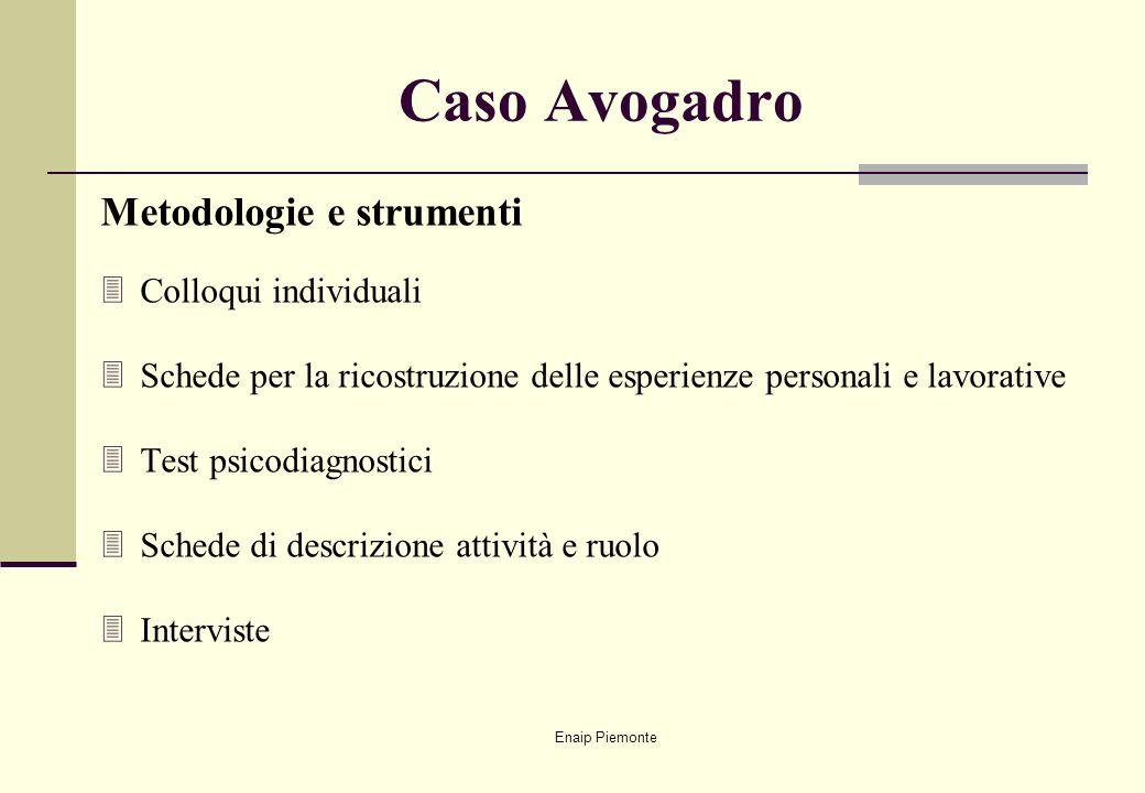 Enaip Piemonte Caso Avogadro Metodologie e strumenti 3Colloqui individuali 3Schede per la ricostruzione delle esperienze personali e lavorative 3Test