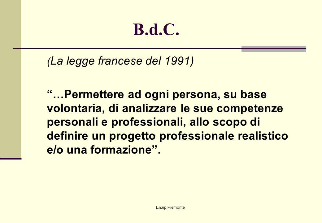 Enaip Piemonte B.d.C. ( La legge francese del 1991) …Permettere ad ogni persona, su base volontaria, di analizzare le sue competenze personali e profe