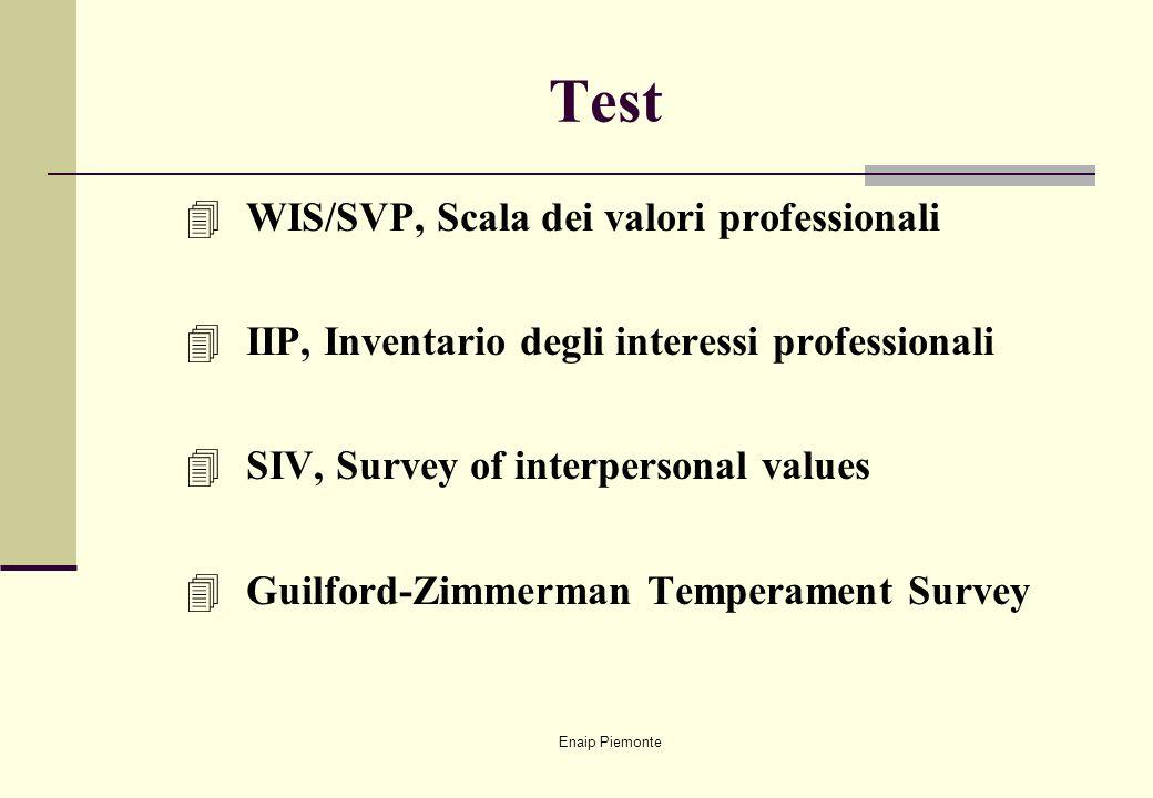 Enaip Piemonte Test 4 WIS/SVP, Scala dei valori professionali 4 IIP, Inventario degli interessi professionali 4 SIV, Survey of interpersonal values 4
