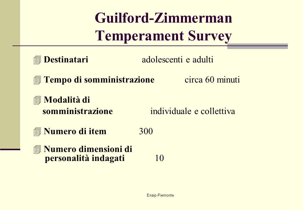 Enaip Piemonte Guilford-Zimmerman Temperament Survey 4Destinatari adolescenti e adulti 4Tempo di somministrazione circa 60 minuti 4Modalità di sommini