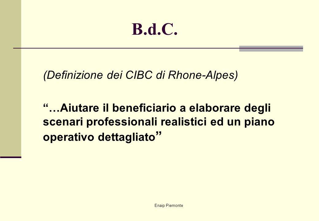 Enaip Piemonte B.d.C. (Definizione dei CIBC di Rhone-Alpes) …Aiutare il beneficiario a elaborare degli scenari professionali realistici ed un piano op