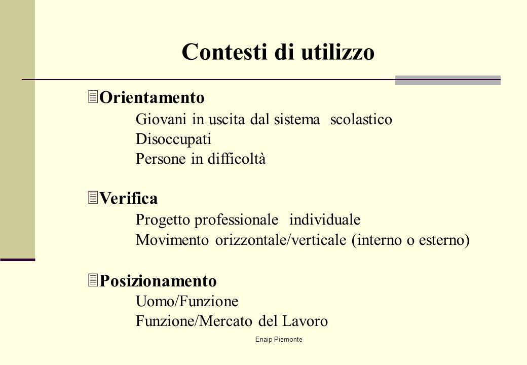 Enaip Piemonte 3Orientamento Giovani in uscita dal sistema scolastico Disoccupati Persone in difficoltà 3Verifica Progetto professionale individuale M