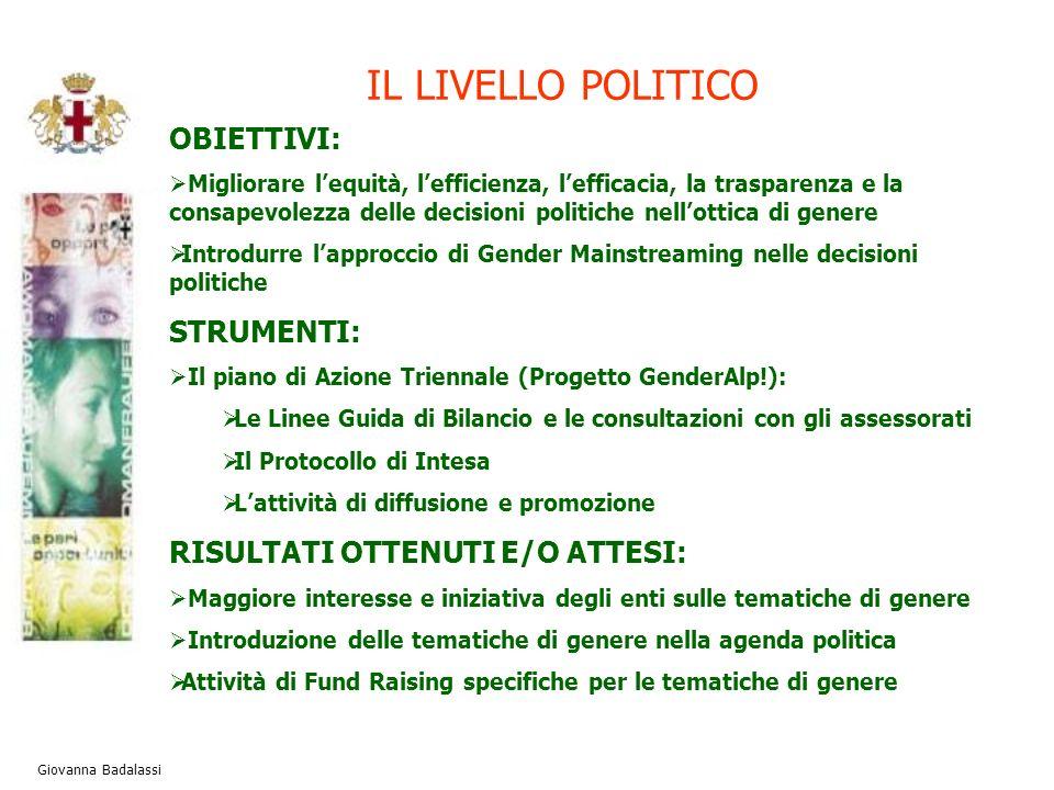 IL LIVELLO POLITICO Giovanna Badalassi OBIETTIVI: Migliorare lequità, lefficienza, lefficacia, la trasparenza e la consapevolezza delle decisioni poli