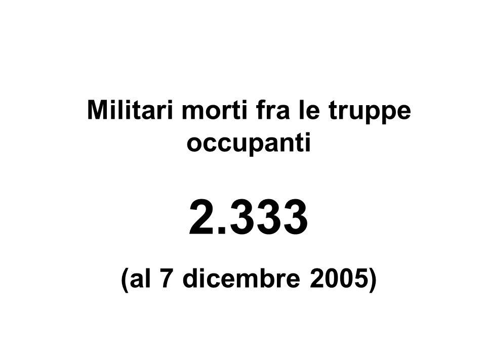 Militari morti fra le truppe occupanti 2.333 (al 7 dicembre 2005)