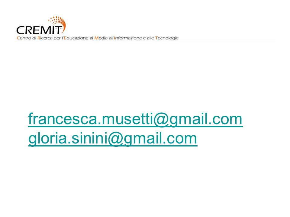 francesca.musetti@gmail.com gloria.sinini@gmail.com francesca.musetti@gmail.com gloria.sinini@gmail.com