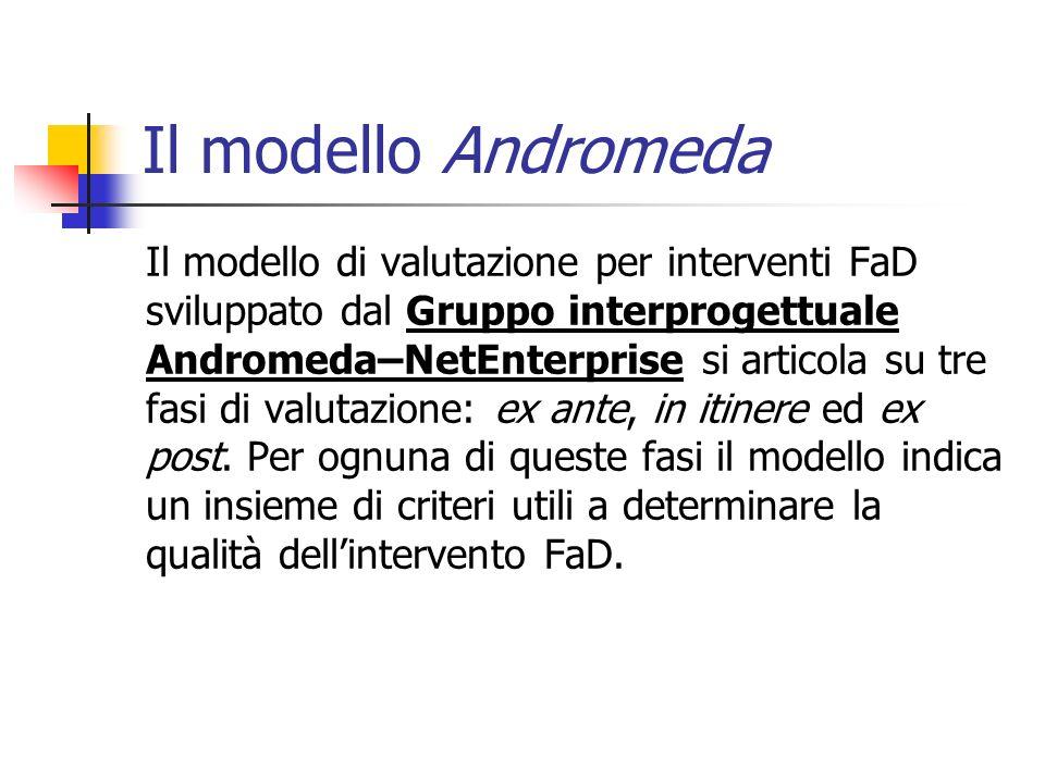Il modello Andromeda Il modello di valutazione per interventi FaD sviluppato dal Gruppo interprogettuale Andromeda–NetEnterprise si articola su tre fasi di valutazione: ex ante, in itinere ed ex post.