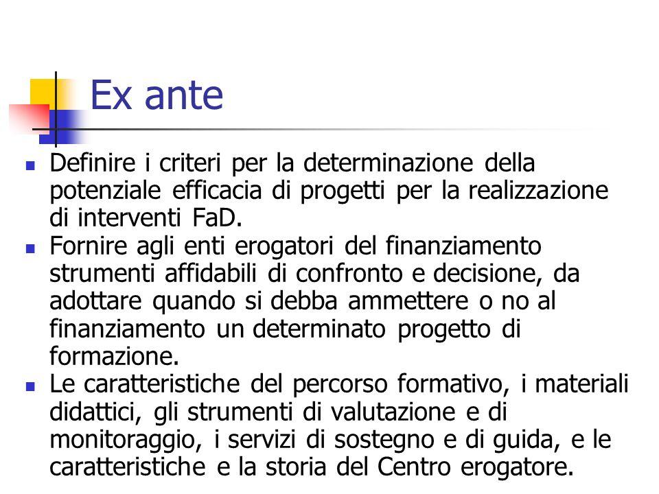 Ex ante Definire i criteri per la determinazione della potenziale efficacia di progetti per la realizzazione di interventi FaD.
