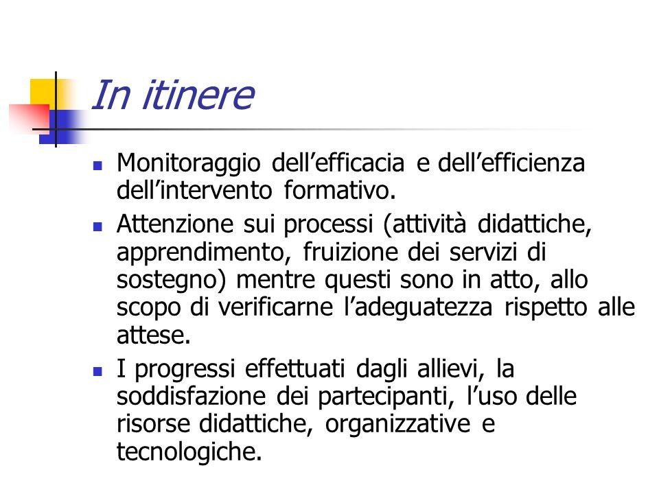 In itinere Monitoraggio dellefficacia e dellefficienza dellintervento formativo.