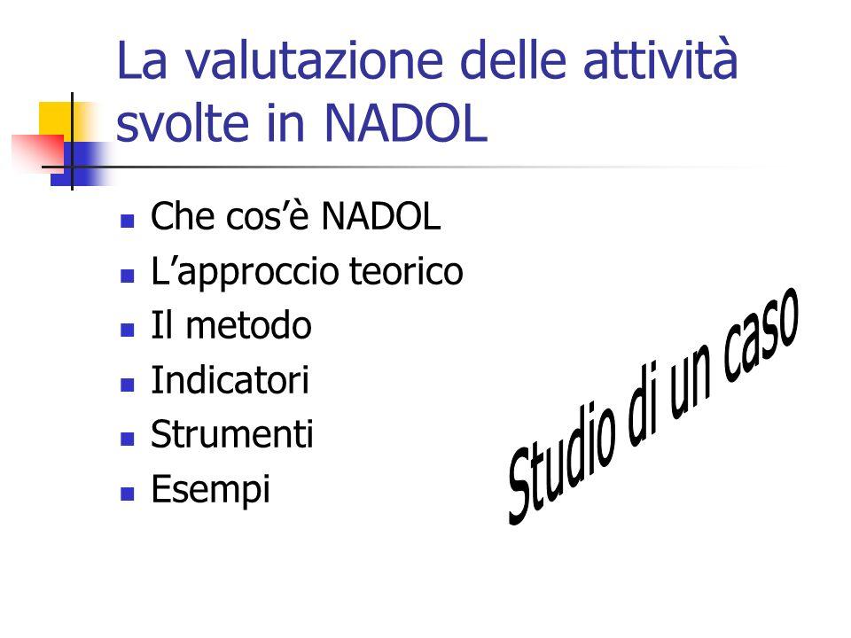 La valutazione delle attività svolte in NADOL Che cosè NADOL Lapproccio teorico Il metodo Indicatori Strumenti Esempi