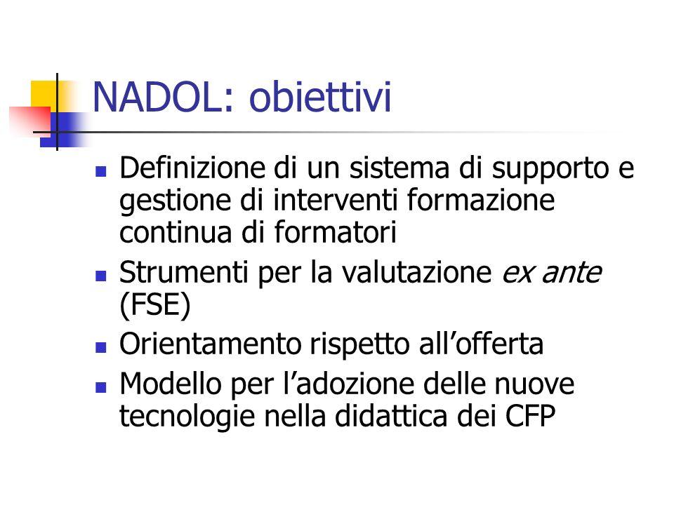 NADOL: obiettivi Definizione di un sistema di supporto e gestione di interventi formazione continua di formatori Strumenti per la valutazione ex ante (FSE) Orientamento rispetto allofferta Modello per ladozione delle nuove tecnologie nella didattica dei CFP