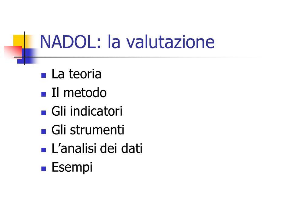 NADOL: la valutazione La teoria Il metodo Gli indicatori Gli strumenti Lanalisi dei dati Esempi